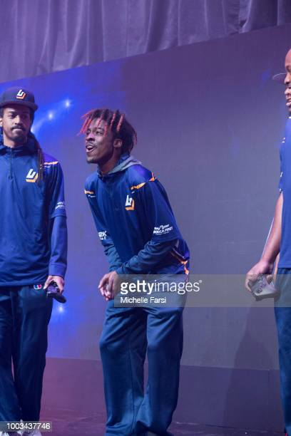 Shockey of Pacers Gaming reacts during post game interview after game against Jazz Gaming on July 21 2018 at the NBA 2K Studio in Long Island City...