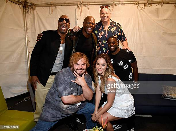 J B Smoove Terry Crews Jeff Ross and Kevin Hart Jack Black and Katharine McPhee are seen backstage at 'Spike's Rock the Troops' event held at Joint...