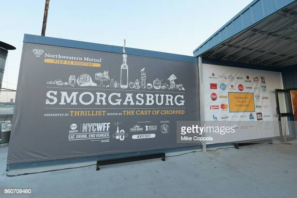 Smorgasburg presented by Thrillist hosted by the Cast of Chopped signage on display at The Food Network & Cooking Channel New York City Wine & Food...