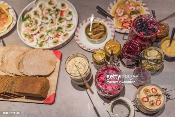 smörgåsbord - swedish christmas table (julbord) a buffet of cold starters - sweden stock pictures, royalty-free photos & images