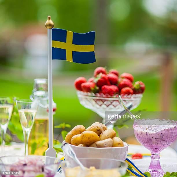 smörgåsbord with pickled herring and snaps - midsommar bildbanksfoton och bilder