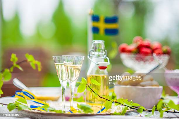 smörgåsbord with snaps - midsommar stock pictures, royalty-free photos & images