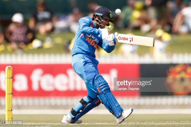 Smriti Mandhana of India bats during game five of the Women's One Day International series between Australia and India at Junction Oval on February...