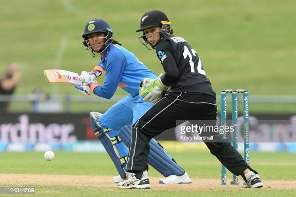 Smriti Mandhana of India bats during game one of the One Day International Series between New Zealand White Ferns and India at McLean Park on January...