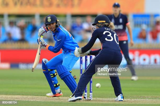 Smriti Mandhana of India bats during the England v India group stage match at the ICC Women's World Cup 2017 at The 3aaa County Ground on June 24...