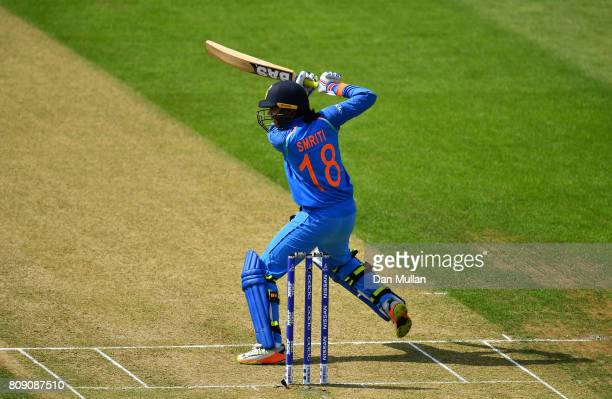 Smriti Mandhana of India bats during the ICC Women's World Cup 2017 match between Sri Lanka and India at The 3aaa County Ground on July 5 2017 in...