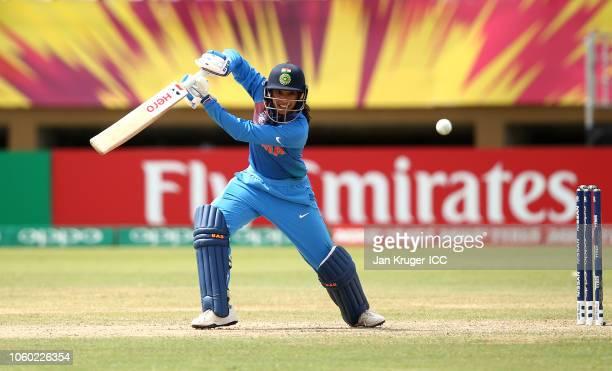 Smriti Mandhana of India bats during the ICC Women's World T20 2018 match between India and Pakistan at Guyana National Stadium on November 11 2018...