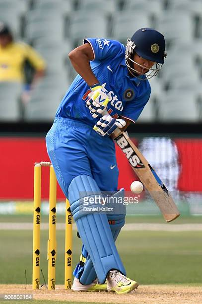 Smriti Mandhana of India bats during the women's Twenty20 International match between Australia and India at Adelaide Oval on January 26 2016 in...
