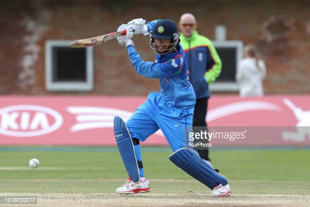 Smriti Mandhana of India batting during the First One Day International between England Women and India Women at Scarborough CC, North Marie Road,...
