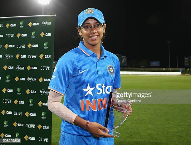 Smriti Mandhana of India is named player of the match after game two of the women's one day international series between Australia and India at...