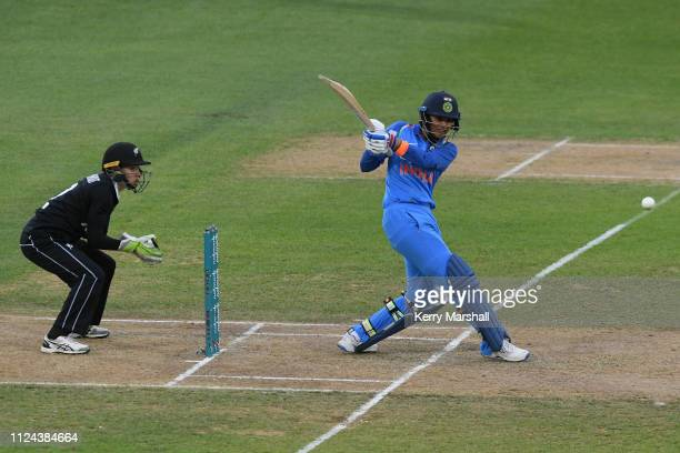 Smriti Mandhana of India plays a shot during game one of the One Day International Series between New Zealand White Ferns and India at McLean Park on...