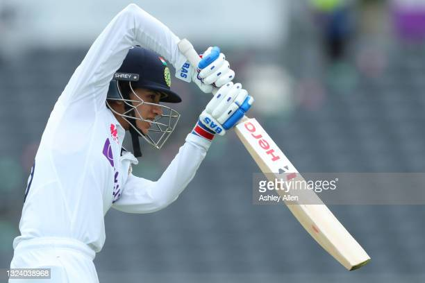 Smriti Mandhana of India warms up on Day Two of the LV= Insurance Test Match between England Women and India Women at Bristol County Ground on June...