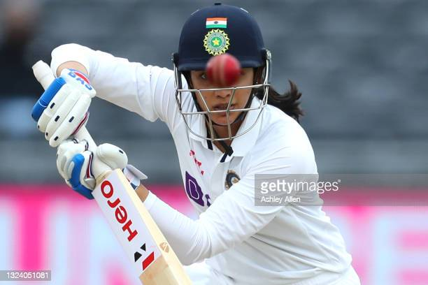 Smriti Mandhana of India watches the ball closely on Day Two of the LV= Insurance Test Match between England Women and India Women at Bristol County...