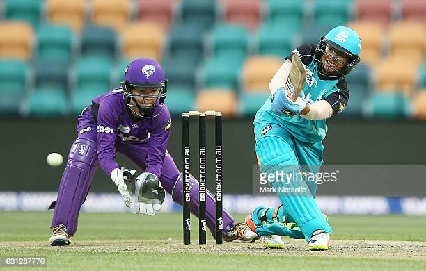 Smriti Mandhana of the Heat bats during the Women's Big Bash League match between the Brisbane Heat and the Hobart Hurricanes at Blundstone Arena on...