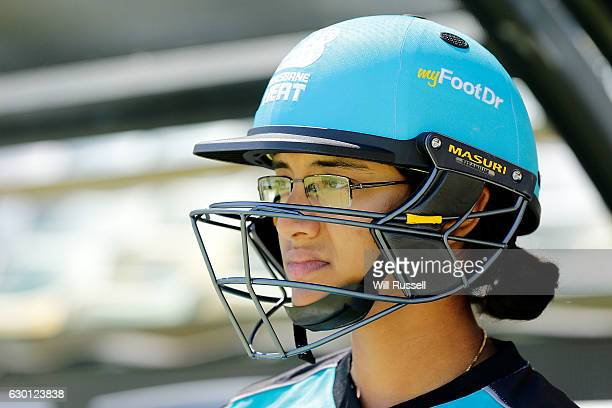 Smriti Mandhana of the Heat looks on during the WBBL match between the Brisbane Heat and Perth Scorchers at WACA on December 17 2016 in Perth...