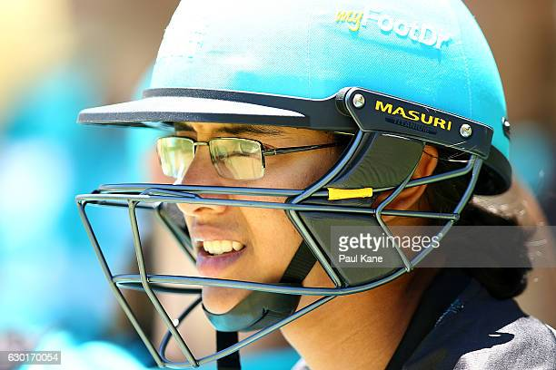 Smriti Mandhana of the Heat looks on while waiting to bat during the WBBL match between the Scorchers and Heat at WACA on December 18 2016 in Perth...