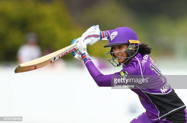 Smriti Mandhana of the Hurricanes bats during the Women's Big Bash League match between the Hobart Hurricanes and the Melbourne Stars at West Park on...