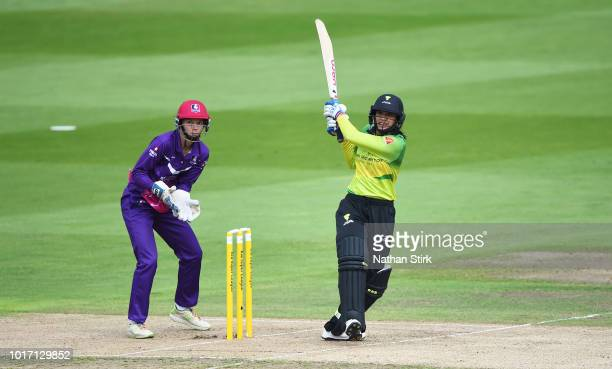 Sophie Devine of Loughborough runs into bowl during the Kia Super League match between Loughborough Lightning and Western Storm at Edgbaston on...
