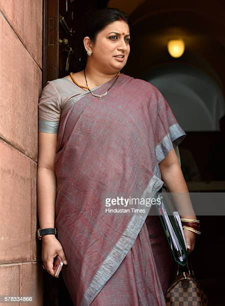 Smriti Zubin Irani Minister of Textiles at Parliament during the Monsoon Session on July 21 2016 in New Delhi India The Lok Sabha passed the National...