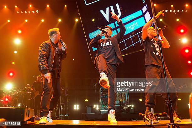 Smudo Michi Beck and Thomas D of german hip hop group 'Die Fantastischen Vier' perform on stage at the Lanxess Arena on January 18 2015 in Cologne...