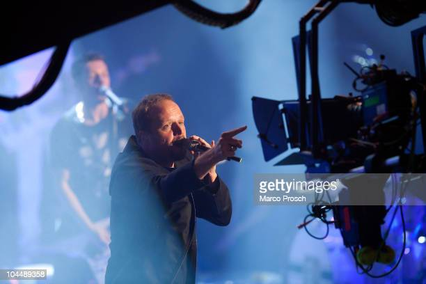Smudo of German hip hop band Die Fantastischen Vier points at a 3D camera during the final rehearsals of their 3D Live Concert on September 27 2010...