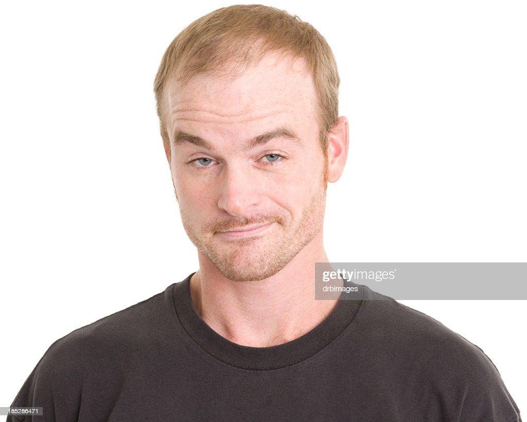 Smug Man Raises Eyebrows : Stock Photo