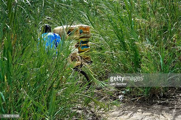 A smuggler pushes a bicycle loaded with gasoline barrels on the shore of the river Tachira on the ColombiaVenezuela border on 2 May 2006 in La Parada...