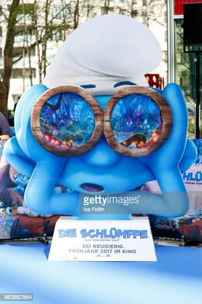 A smurf figure during the 'Die Schluempfe Das verlorene Dorf' premiere at Sony Centre on April 2 2017 in Berlin Germany