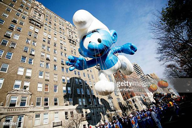 Smurf float seen at the 82nd Annual Macy's Thanksgiving Day Parade on the streets of Manhattan on November 27 2008 in New York City