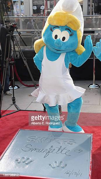 Smurfette attends a hand and footprint ceremony Immortalizing The Smurfs at Grauman's Chinese Theatre on December 13 2011 in Hollywood California