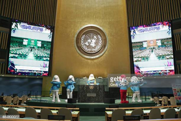 Smurfs at the United Nations Headquarters celebrating International Day of Happiness in conjunction with SMURFS THE LOST VILLAGE on March 18 2017 in...