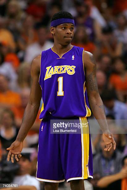 Smush Parker of the Los Angeles Lakers reacts in the first half against the Phoenix Suns in Game Five of the Western Conference Quarterfinals during...