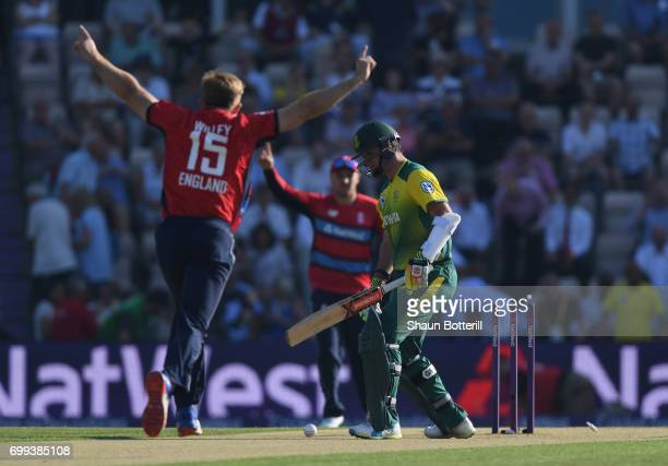 Smuts of South Africa is bowled by David Willey of England during the 1st NatWest T20 International match between England and South Africa at Ageas...