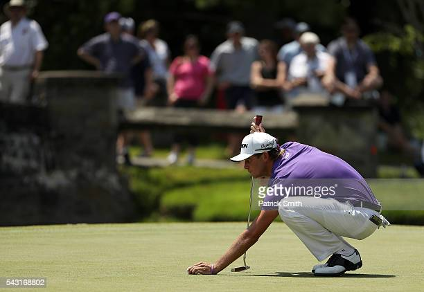 Smylie Kaufman lines up a putt on the sixth green during the final round of the Quicken Loans National at Congressional Country Club on June 26 2016...