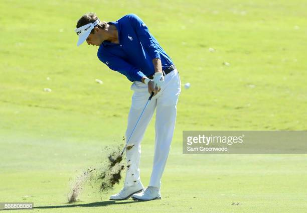 Smylie Kaufman plays his second shot on the ninth hole during the First Round of the Sanderson Farms Championship at the Country Club of Jackson on...
