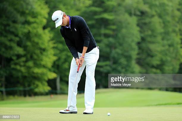 Smylie Kaufman putts on the first green during the final round of the Deutsche Bank Championship at TPC Boston on September 5 2016 in Norton...