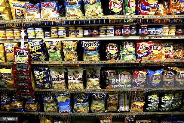 Snack food is displayed inside a grocery store February 8 2006 in New York City A new US government study on nutrition has found that contrary to...
