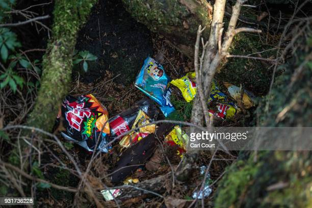 Snack food wrappers remain at the scene of an apparent suicide in Aokigahara forest on March 13 2018 in Fujikawaguchiko Japan Aokigahara forest lies...