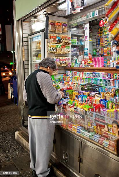 snack kiosk on new york street, usa - nuts magazine stock photos and pictures