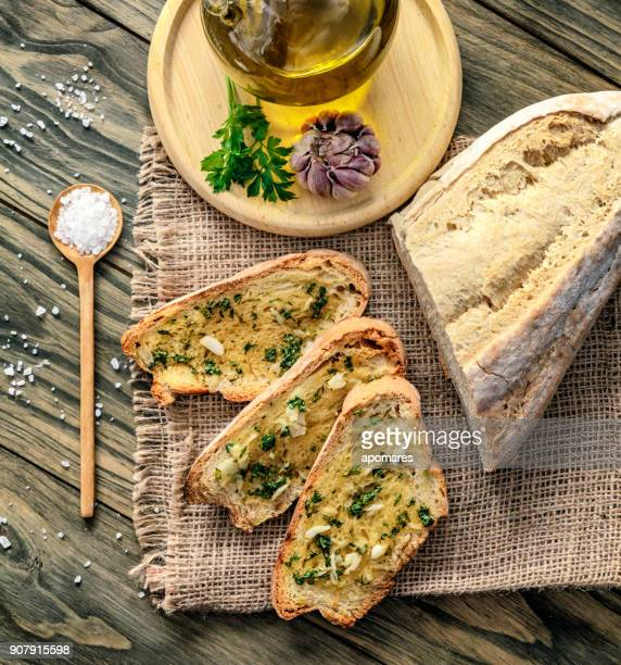 Snack or appetizer of garlic basil and olive oil bruschetta