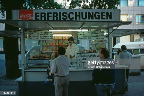 A snack stand in West Berlin with a sign reading 'Erfrischungen' or 'Refreshments' Germany 1983