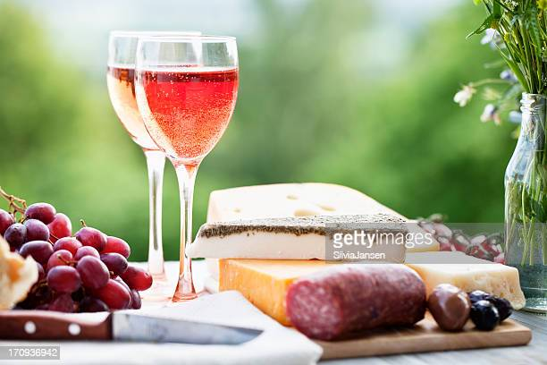 snack wih cheese and wine