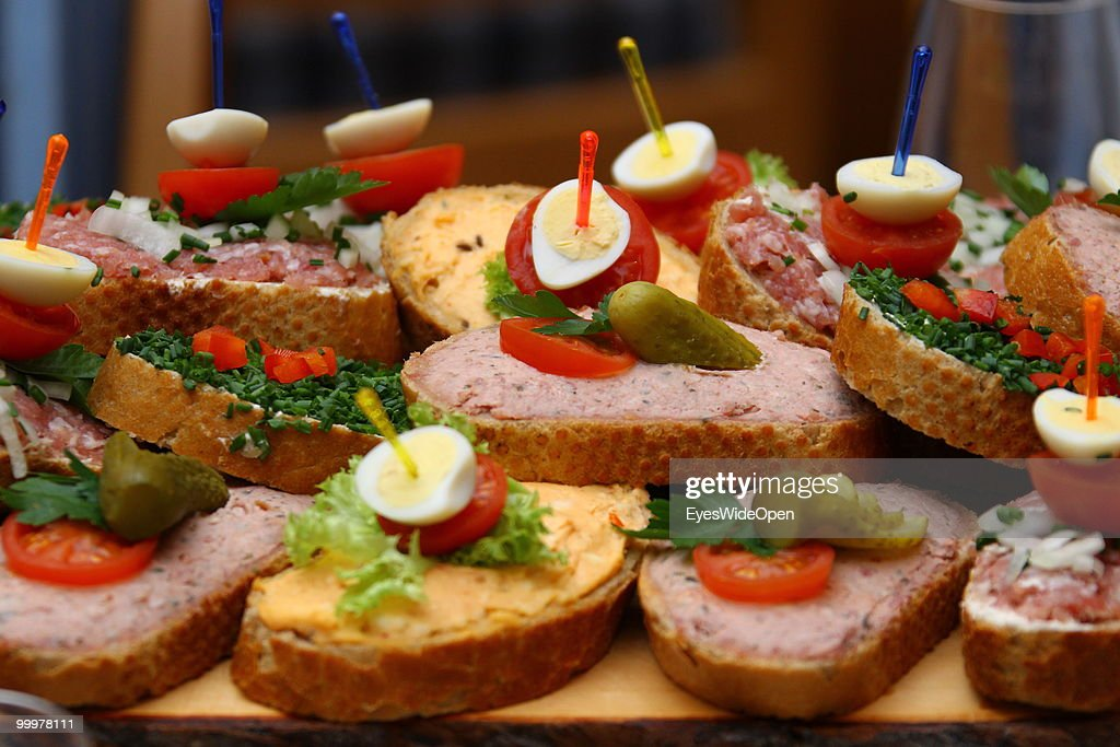 Snacks and Sandwiches served in a party event. on March 29, 2010 in Munich, Germany.