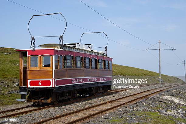 snaefell mountain railway tram returns to laxey - isle of man stock pictures, royalty-free photos & images