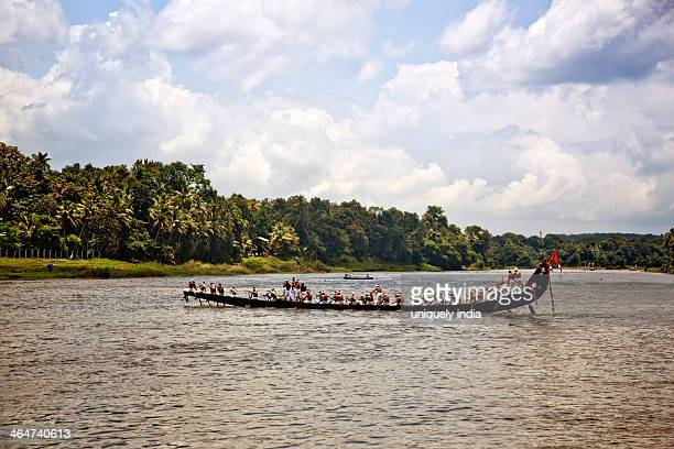 snake boat race on pampa river at onam festival, aranmula, kerala, india - kerala stock pictures, royalty-free photos & images