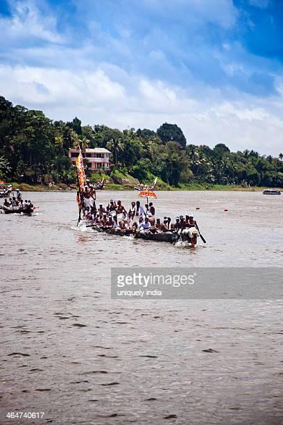 Snake boat race on Pampa River at Onam Festival, Aranmula, Kerala, India