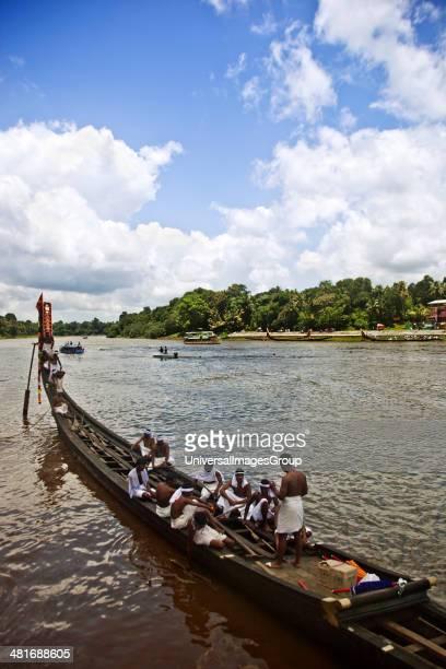 Snake boat race on Pampa River at Onam Festival Aranmula Kerala India