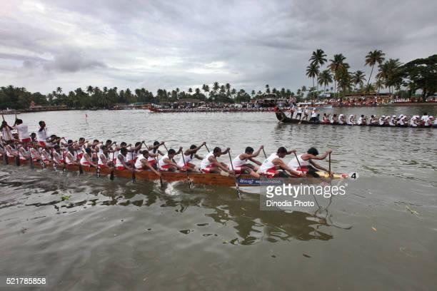 Snake boats Racing in Punnamada Lake at Alleppey, Kerala, India