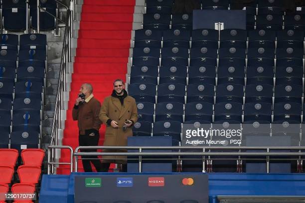 Snake is seen in the stand after the confusion following an alleged incident between Istanbul Basaksehir assistant manager Pierre Achille Webo and...
