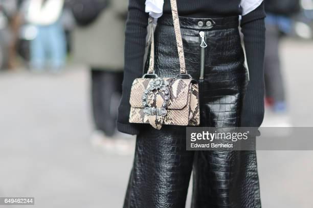 A snake print bag is seen outside the Miu Miu show during Paris Fashion Week Womenswear Fall/Winter 2017/2018 on March 7 2017 in Paris France